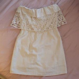 Linen and crochet cocktail dress